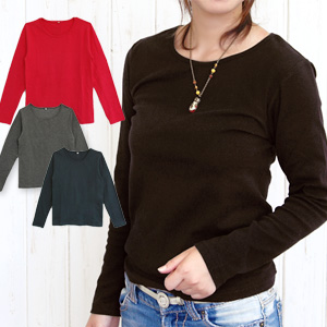 6,093 pieces are sold out! It is good to long sleeves inner in the fall and winter! Simple plain fabric cut-and-sew ◆ steady round neckline stretch cut-and-sew boasting enough thickness and the elastic cloth