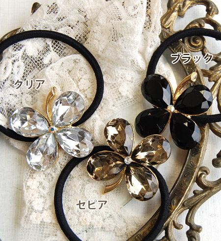 6,409 Pieces sold out! A glow of happiness to you! 4 Sparkling leaves クローバーヘアゴム! Their presence plenty of yet mature with a Swarovski Crystal our ロングセラーヘア accessories! Happy motif from a perfect gift ◆ クリスタルクローバーポニー