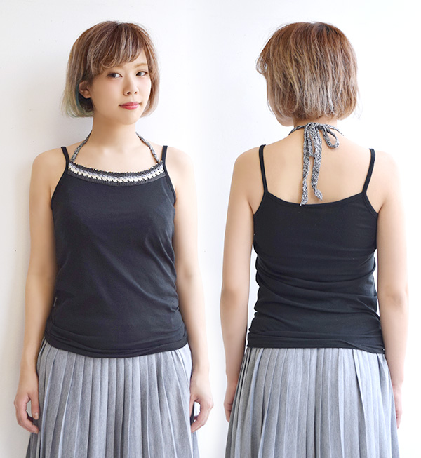 ◆ Cloche race Halter ribbon camisole that key knitting halterneck string ♪ Lady's tops inner no sleeve cut-and-sew T-cloth such as the camisole M/L/LL Cloche race is cool