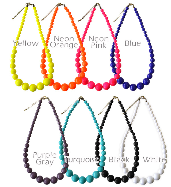 I don't think necklace presence! カラービーズネックレス will add color and impact plus code. Neon color trend well equipped ball chain necklace and Rosary necklaces & accessories ◆ Zootie ( ズーティー ): エクールキャンディネックレス