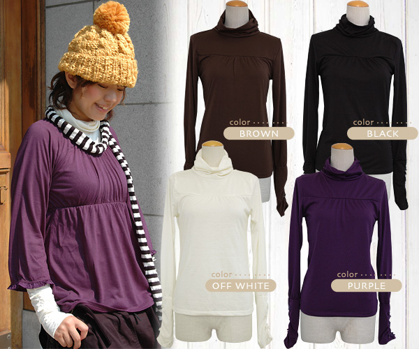 1,675 pieces are sold out! A thimble turtleneck of イーザッカマニアオリジナル comes up at last! Cut-and-sew ◆ gathers ribbon Longus Reeve turtleneck cut-and-sew with the ventage with petit ribbon of the velour to the side