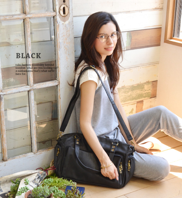 8,215 are sold out! The 2WAY type that it is in Boston model to fully enter, a storing convenient pocket a lot of ♪ length adjustment freedom, shoulder bag! At bag commuting attending school A4 bias 合皮 female office worker member of society shawl ◆ zooti