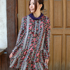 Air Lee dress ◆ Rose race shower chiffon dress feminine softly that material with quality of child perfect score ♪ translucency of the woman is light in chest のくしゅくしゅ frill and floral design