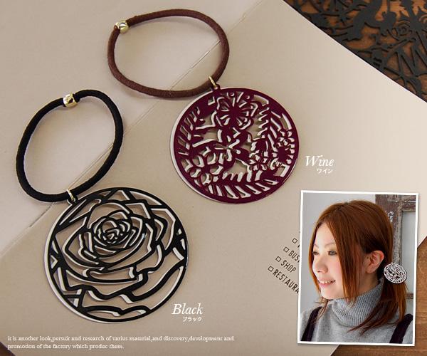 オリエンタルヘアゴム became a motif Butterfly & rose flower garden around! Innovative design, such as cutting the distinctive hair accessories ◆ シノワズリーサーフィスヘアゴム