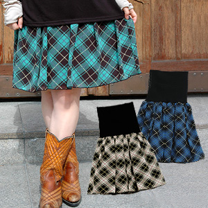 It is wearing freedom with a longish rib! Bellyband-like 2WAY checked pattern skirt ◆ air Lee bellyband skirt [check] which is usable as miniskirt & tube top tunic