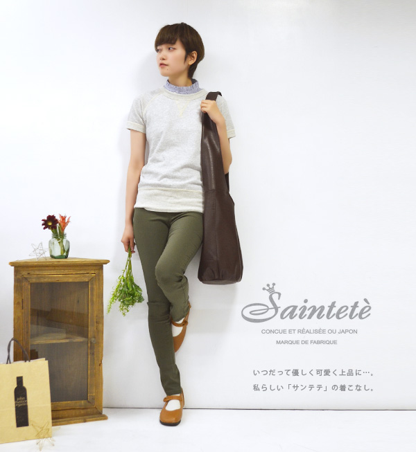 "The good-quality sweat shirt which an adult woman looks good with! Short-sleeved cut-and-sew sweat shirt Lady's tops ◆ Saintete (sun Tete) using ""2 black kite fleece pile"" attractive a vintage-like texture: Half sleeve raglan sleeves trainer"
