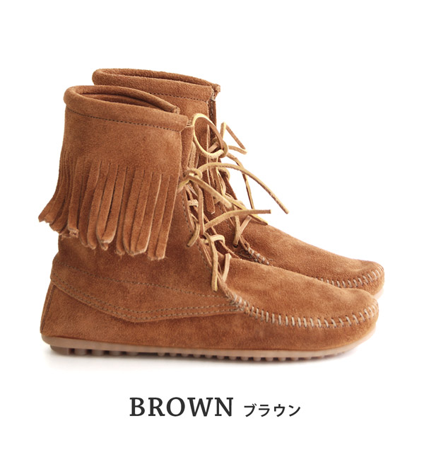 Extreme popularity short length boots of MINNETONKA which is famous for Mine Tonka handmade moccasins! Suede leather fringe race up moccasins bootie suede cloth genuine leather fashion ◆ MINNETONKA (Mine Tonka): Tramper ankle high boots