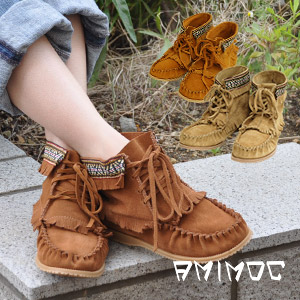 ●-Indian boots are fashionable not only! Wearing the insoles of the fluffy cute Barzun comfortable and Tyrolean tape and fringe natural leather アミモック leather moccasins shoes / spring boots ◆ AMIMOC: インディアンフリンジ short boots