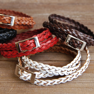 The genuine leather bracelet of three types to wind around an arm round and round! / man and woman combined use unisex accessories / mesh / rial leather / braided / braid / buckle / anklet ◆ leather wave belt bangle recommended in slim one as for the sta
