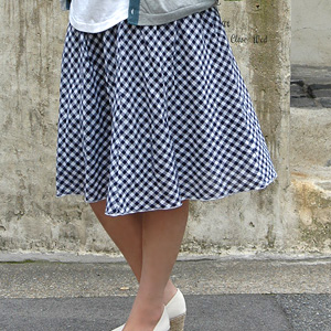 The cotton skirt well refreshing as for gingham check skirt ♪ lining matching Gurley-style is 2WAY item ◆ gingham check shirring skirt to transform itself into a tunic
