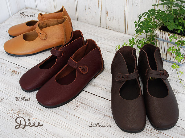The genuine leather handmade shoes which is good to a natural style! Good-quality strap shoes / ぺたんこ / flattie ◆ Diu (ディウ) using the discerning buffalo leather: ☆☆ strap button leather shoes during the event