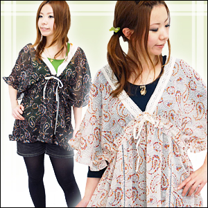 Paisley flower-studded maiden feeling plenty of chiffon one piece! Short sleeve ruffle dress with cute Ribbon lace v-neck neckline and velour material ◆ V ネックリボンペイズリーエアリーチュニック
