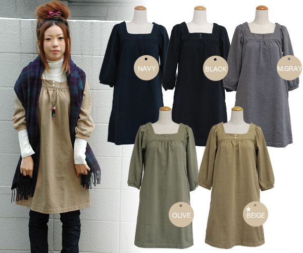 New color addition! A basic sweat shirt dress of Saintete where the French casual of adult goes perfect! Can show decollete in a square neck beautifully; well seven minutes sleeve cotton dress ◆ Saintete (sun Tete) of the material: ヘヴィーウエイトスウェットスクエアネック t