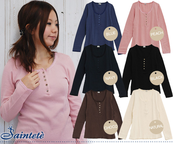 A race or a button are cute to the henley neck long sleeves cut-and-sew that length is longish! The cotton 100% of sun Tete old acquaintance waffle cloth excellent at comfort is ◆ Saintete for roomware: Frill race waffle round neckline cut-and-sew