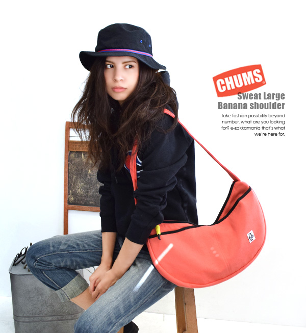 Large unisex also bags popular CHUMS! Casual sweat material with full pockets! / Women's / men's / shoulder / shoulder put / diagonally over the polka dot ◆ CHUMS ( chums ): スウェットラージバナナショルダー bags