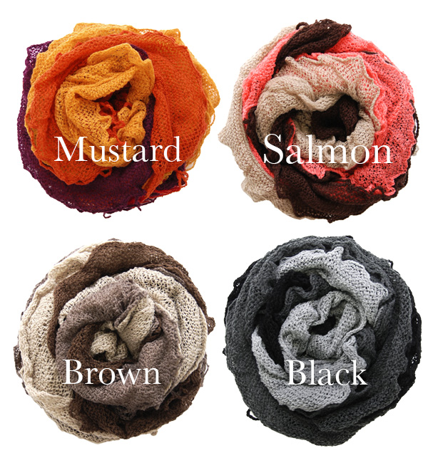 The rolls were rolled up frills decorate the neck like the hook crochet knit scarf! Light volume though ◎ accessories like necklaces, please! / Key to knitted mohair wind / ladies ' cold weather accessories ◆ triple mix fluffy scarf