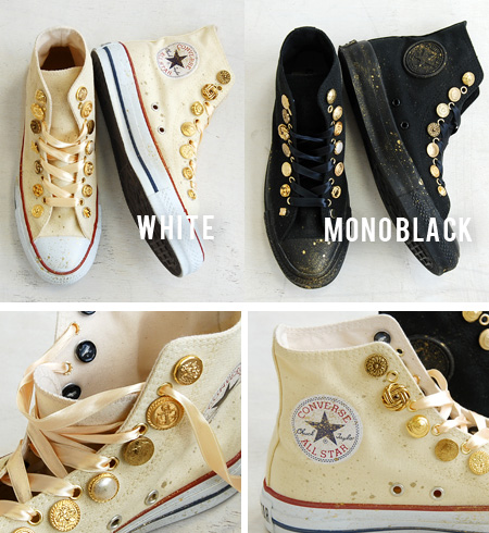 I remake CANVAS ALL STAR HI of the CONVERSE constant seller with gold button & spray paint! / Lady's / shoes /anyo ◆ remake Converse all-stars higher frequency elimination sneakers [gold button & satin race] which a shoelace can choose from norma