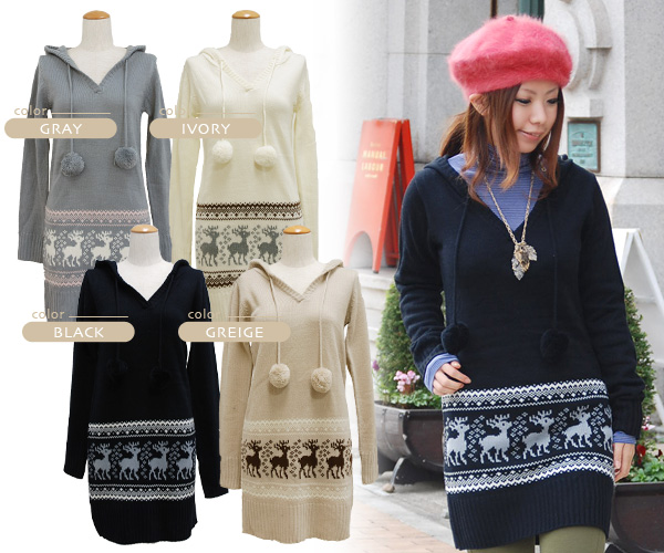 The knit dress that a cute reindeer equalled a hem! The V neck long sleeves dress which there are both the design of the snowy crystal and the atmosphere that is given folklore food plonk a quality of オンナノコ direction ◆ reindeer march bonbon knit dress &l