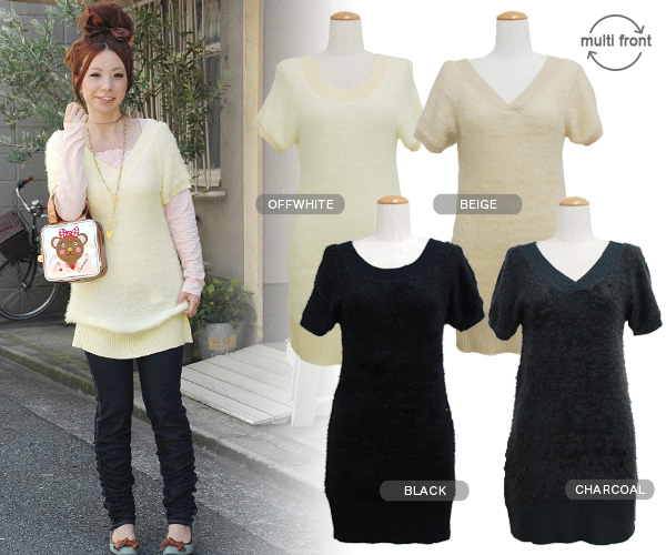 Comfort ◆ w closet which I can mix-and-match even if I reverse it anteroposterior as for the neckline which appearance ♪ V neck and a round neckline were garnished with the knit dress that a family such as the fur tickles girl's mind than a double closet