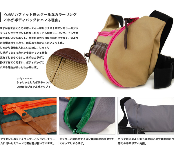 1,473 are sold out! A colorful color of the unisex 2WAY hips bag ♪ canvas place X fake leather that a showy color zip accentuated is BAG at the bias of the decisive factor! Body bag ◆ アネーロショルダーバッグ where features all-around さが which is usable in the waist