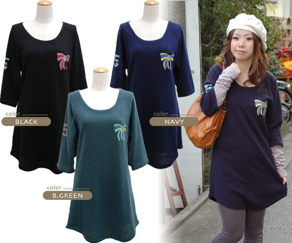 MIX coordinates of the up-and-coming American casual X traditional fashion-style are completed immediately now! Chest paste is the appearance of the original print three-quarter sleeves knit dress that the emblem of the broach is cute boom from zoo tea!