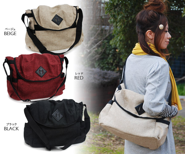As for the shoulder bag of the impression that feel of a material such as the hemp is light, the daily messenger makes an outstanding performance in the school scene, too! ◆ Berg shoulder bag recommended as for the unisex bag going perfect coolly includi