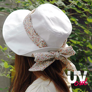 If you have this UV protection also perfect! You can arranged in a floral Ribbon UV cut collar wide Hat! Enjoy flower pattern Ribbon is detachable from a simple Hat Best Hat ◆ floral Ribbon UV cut Hat