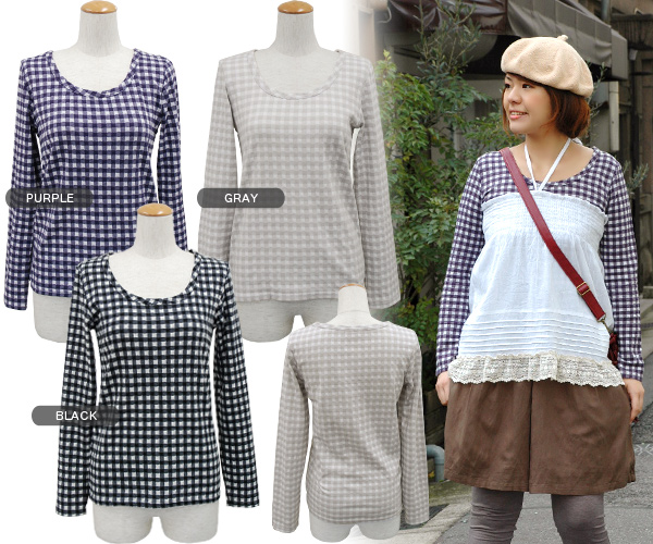 The Gurley cut-and-sew ◆ natural gingham check cut-and-sew which the back side such as the gauze cotton which could show the form that a gingham check treated by one side was lovely was particular about to the small places such as cloth for round necklin