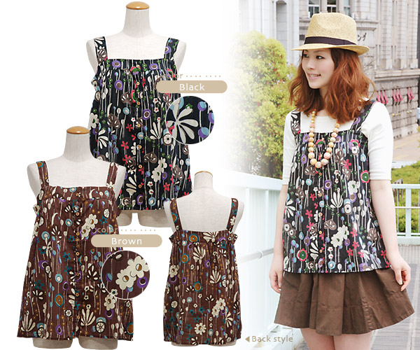 Camitunic a cute fantasy flower prints and silhouettes, Dolly appeared! They can also dress like the vest if you open the natural wood button! Receive better swimming wear flower print tunic boasted ◆ waterflowerprintcamisole
