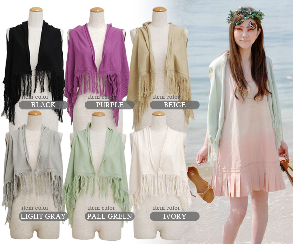 The first step to a senior stylish using it for a stall sense! Summer knit gilet ◆ Zootie (zoo tea) where features the drape that the short length fringe best that the mini-length that balance is easy to take can aim at a legendary man with long legs eff