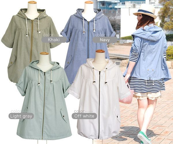 If wazaari parka ♪ hem coming by a style change in a sleeve and the roll-up of the hem squeezes a string by a longish design, seem to make an outstanding performance for sunburn measures as a balloon dress; a ◆ yellowtails roll-up half-length sleeves zip