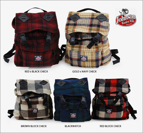 ●●The checked pattern BIG rucksack which can realize a surprising storing power! ◆ Johnson Woolen Mills (Johnson Woo Ren Milnes) recommended by the design which the large-capacity day pack of the checked pattern + warm wool fabric is unisex, and is usabl