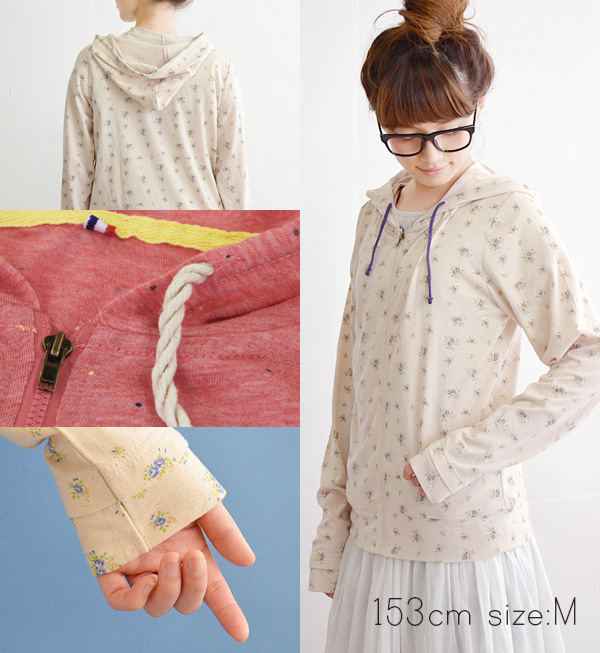 A haori is ultraviolet rays measures so good! ◆ flower & dot mid sleeve UV cut parka with the UV cut outer cut-and-sew UV parka ultraviolet rays cut Lady's long sleeves UV wear ultraviolet rays wear food of floral design & waterdrop pattern in th