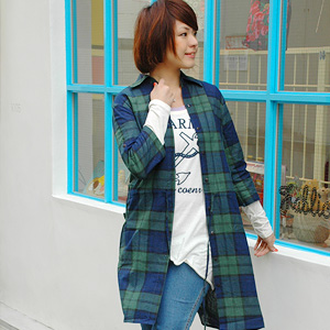 Check shirt one-piece of the year is a little longer length mature ♪ Rollup / 7 sleeves 5 minutes on the sleeve caught the sheer clothing and even GOOD! Used in the layering fashion girl definately ◆ Steering check 7-sleeve shirt dress