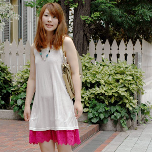 A sleeveless tunic excellent at the coordinates power that I want to mix-and-match in daily simply because it is simple! Affordable price long tank top one piece ◆ basic border & plane tank one piece of a plain collar and six colors of horizontal str