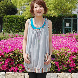 Accent color is attractive! Even one piece enjoys even layering by the ethnic flavor tunic various arrangement which I can enjoy and is distinguished for the affinity with ♪ longish accessories! ◆Colorful ethnic no sleeve tunic