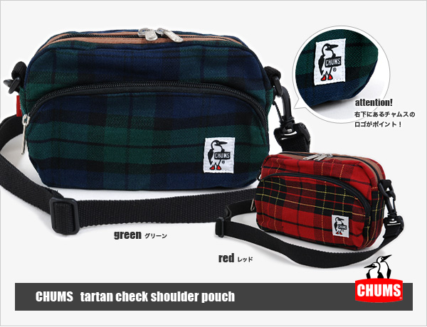 At a bag a trend! Tartan checked pattern comes up in a super popular porch shoulder bag of Kiamusze! A storing power with more than of appearance! Unisex BAG ◆ CHUMS (Kiamusze) which is usable to waist porch & slant cliff: Tartan check shoulder porch
