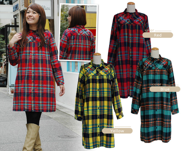 --Also tall, with one worn immediately featured code completion check pattern ネルシャツワン piece! Folklore embroidery also point no color long sleeves A rainwanpi! In the Cape coat style GOOD ◆ TITICACA ( Titicaca ): flannel embroidered check shirt one-piece