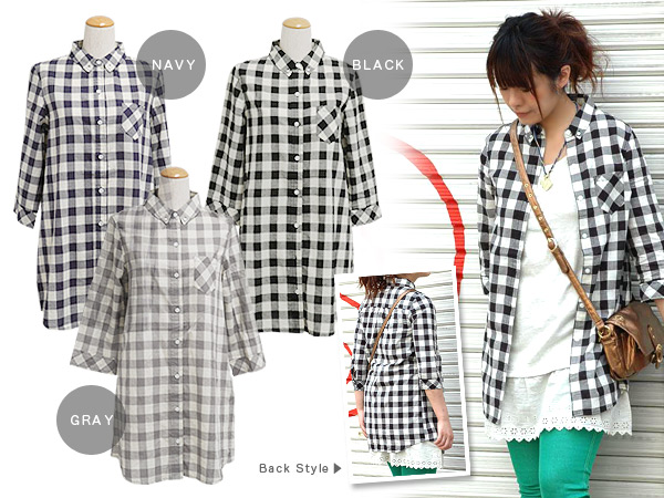 Collar smallish as for the shirt-dress which is casual by a ◎ size grain block check in the casual style which is unusual with a shirt of the long length and the ◆ standard block check shirt-dress which direct a cute impression with a smallish pocket