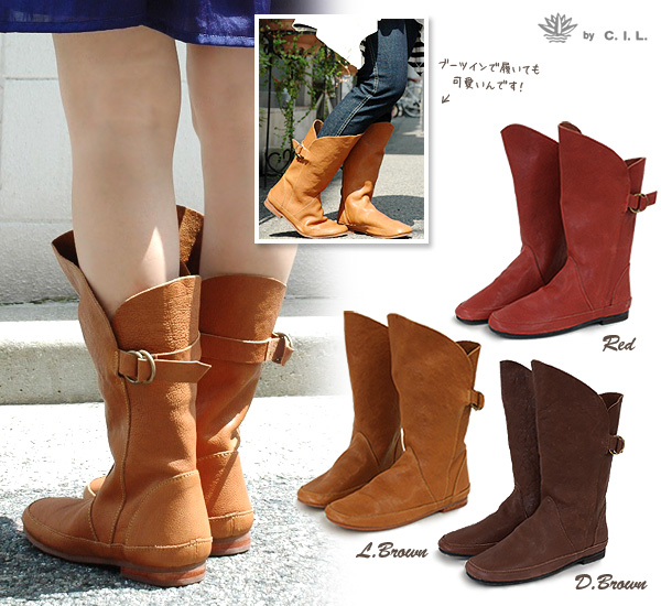 -Moist-Middle made of high-quality Buffalo leather boots! In antique color ring fittings size adjustable resolution & pettanko! Tan Buffalo leather boots of excellent walking and ease of use with this rubber-soled shoes ◆ the C.I.L.( IEL ): リングベルトソフト