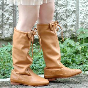 Kush was with adjustable length cute authentic school leather boots! Leather x bow with boot Buffalo leather toggle design hand-made feeling ◆ Diu ( Diu ): フロントリボンソフトレザー boots