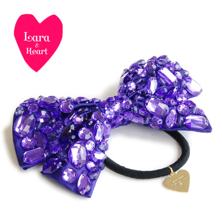 The BIG ribbon pony using the large drop of bijou! Stylish fashion mail order Rakuten ◆ Lara & Heart (LARA and heart) which casual party go Japanese Agricultural Standards hair accessories Lady's has a cute: It is bijou ribbon hair rubber shiningly