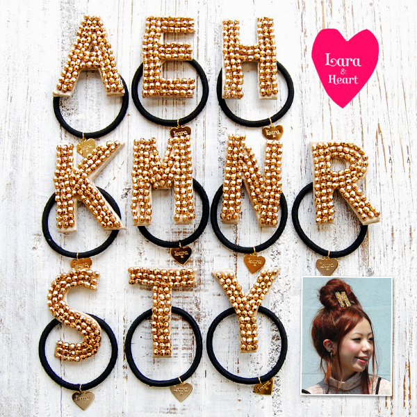 Alphabetheapony covered with flowery sparkly! Cute hair accessories ladies fashion store Rakuten ◆ &Heart Lara (Lara and heart): initial heagom [gold by scheduling]