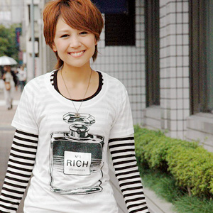 From the Los Angeles brand perfume casual short sleeve T shirt! The soft fabric of rayon cotton charm compact Tee ◆ JOY RICH ( Mickey Mouse No1 ): perfume print T shirt