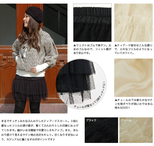 The tutu skirt second of w closet! Miniskirt ◆ w closet (double closet) where is good as a petticoat of three steps of use ♪ tunics plentiful in the Tulle race of the dot pattern like the ballerina: みずたま ティアードチュチュスカート