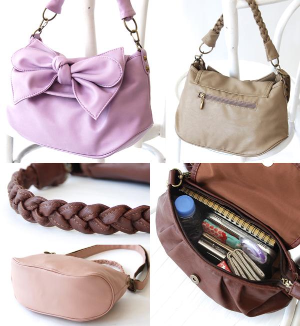 Bold BIG Ribbon 3-WAY shoulder bag! Girly 2-WAY bag can also be 2 oblique め掛け Pochette • completely remove clutch bag use is OK! / Bag /BAG / over the shoulder gusset shoulder diagonally over ◆ puffy Ribbon 3-WAY shoulder bag