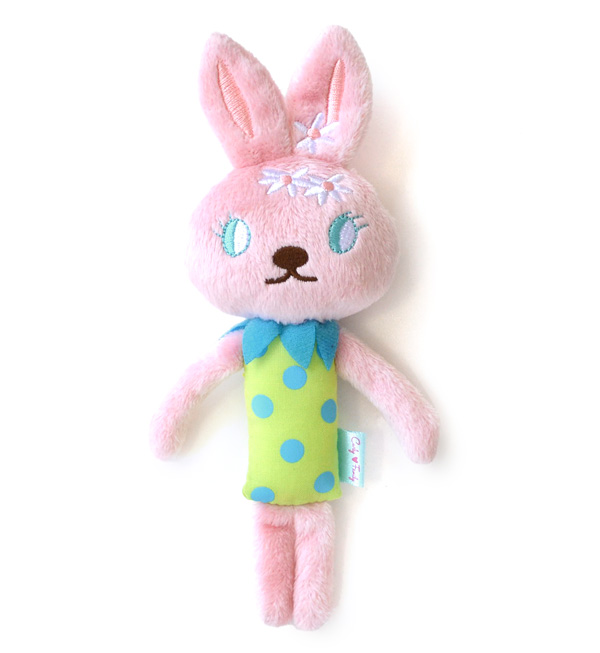 Laura baby Rattle of the Carly family popularity rabbit! Child / toy / toy / toy ◆ Curly Collection (Carly collection) of the LOLA rattle / rabbit / rabbit / newborn baby / woman in a fruit pattern check dress: Curly Family BABY rattle [roller]