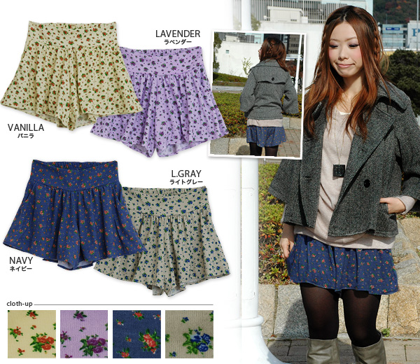 The small floral design culottes that the wearing that relaxation & is cute is possible! Total lining miniskirt style short pants ◆ w closet (double closet) which is a natural girly of the cut-and-sew cloth softly warm: Love Lee bouquets mousse culot