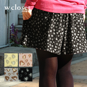 Heart-shaped panther pattern culottes to be able to dress well cutely! Popular one piece and miniskirt version ♪ total lining animal handle of short pants ◆ w closet (double closet) of the cloth of cut-and-sew cloth warm which I held softly: Heart Leo go