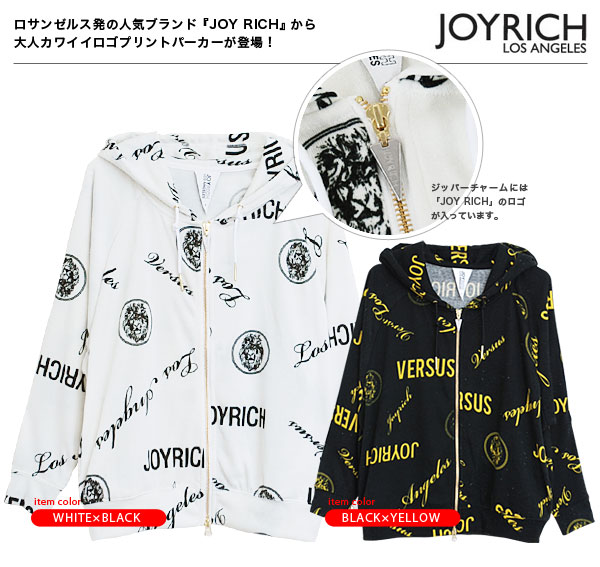 -Drape-only in the degree of attention big JOY RICH pattern parka! Dolman sleeve print alphabet and lion code accent the right hood parka ◆ JOY RICH ( Mickey Mouse No1 ): ロゴプリントドルマンスリーブジップアップパーカー